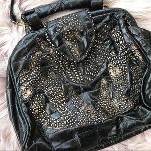 Vintage Black Leather Patchwork Crossbody Purse